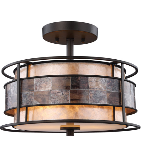 Semi Flush 2 Light With Tiffany Bronze Finish Tan Mica Inside Brown Mosaic Mica Ring Medium Base 14 inch 120 Watts - World of Lamp