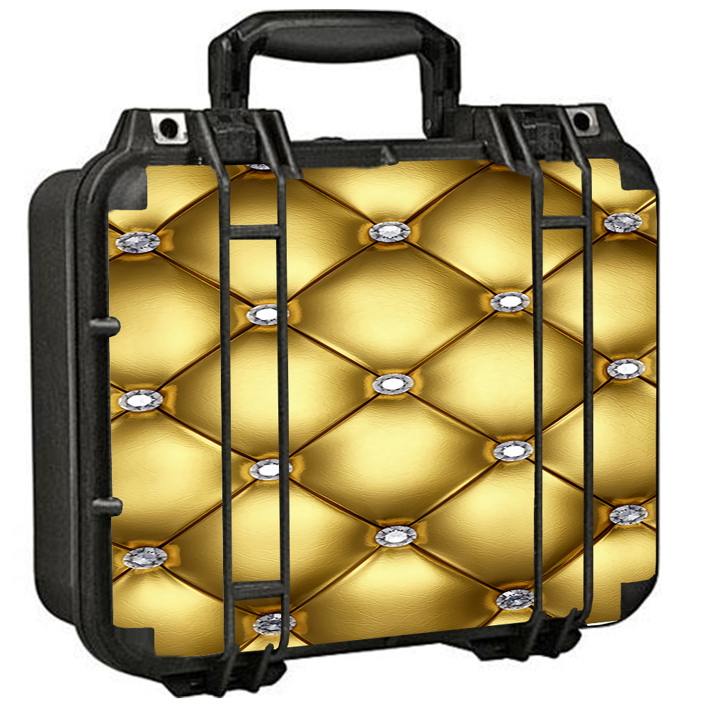 Skin Decal For Pelican 1400 Case / Gold Diamond Chesterfield