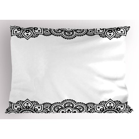 Henna Pillow Sham Damask Inspired Border Design Folkloric Mehendi Curls Flowers Retro Style Cultural, Decorative Standard Queen Size Printed Pillowcase, 30 X 20 Inches, Black White, by (Easy Mehendi Designs For Hands Latest 2015)