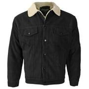 Men's Premium Classic Button Up Fur Lined Corduroy Sherpa Trucker Jacket (Black,S)