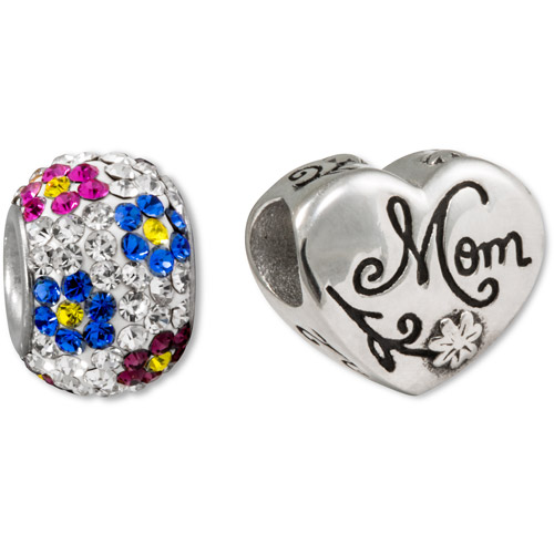 """Connections from Hallmark Stainless Steel """"Mom"""" 2-Charm Pack"""