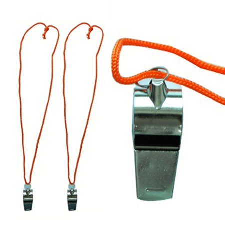 Safety Signal Tube (2 Pc Signal Whistle Metal Lanyard Referee Sports Coach Emergency Survival Safety)