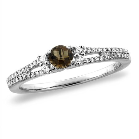 14K White Gold Natural Smoky Topaz Engagement Ring Round 4 mm, size 10