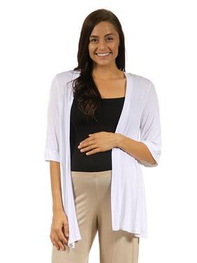 24/7 Comfort Apparel Women's Maternity 3/4 Sleeve Open Shrug