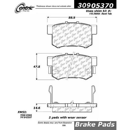 Go-Parts OE Replacement for 1992-1994 Acura Vigor Rear Disc Brake Pad Set for Acura Vigor (Type