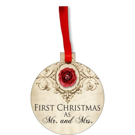 Ornament Newlyweds 1st Christmas as Mr. and Mrs. Vintage Style First Round Shaped Flat Hardboard Christmas Ornament Tree Decoration - Unique Modern Novelty Tree Décor Favors ()