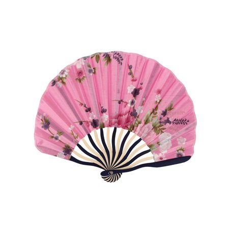 Japanese Style Flower Printed Bamboo Portable Foldable Hand Fan Fans Art Pink