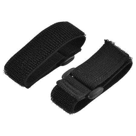 Outdoor Sports Nylon Elastic Backpack Hook Loop Tie Strap Black 2.5 x 20cm 2pcs (Black Nylon Loop)