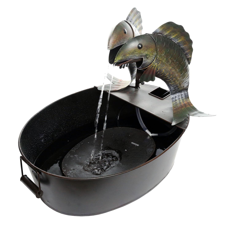 "Alpine Corporation NCY316 Metal Two Fish on a Tin Floor Fountain, 20"" W x 16"" L... by Alpine"