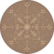 Dynamic Rugs Piazza Vente Round Indoor/Outdoor Area Rug - Brown