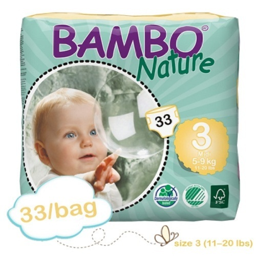 Baby Diaper Bambo Nature Size 3 Disposable Heavy Absorben...