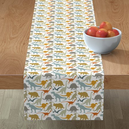 Image of Table Runner Dinosaur Boys Modern Nursery Decor Dinosaurs Organic Cotton Sateen