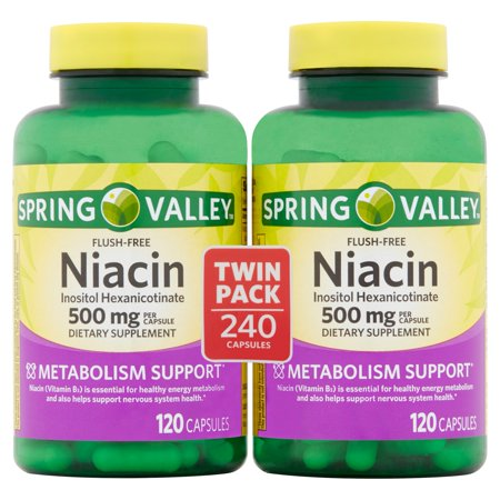Spring Valley Flush-Free Niacin Inositol Hexanicotinate Capsules Twin Pack, 500 mg, 240 count 750 Mg 240 Capsules