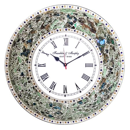 "DecorShore 22.5"" Mosaic Wall Clock, Decorative Round Wall Clock (Fired Jade/Silver)"