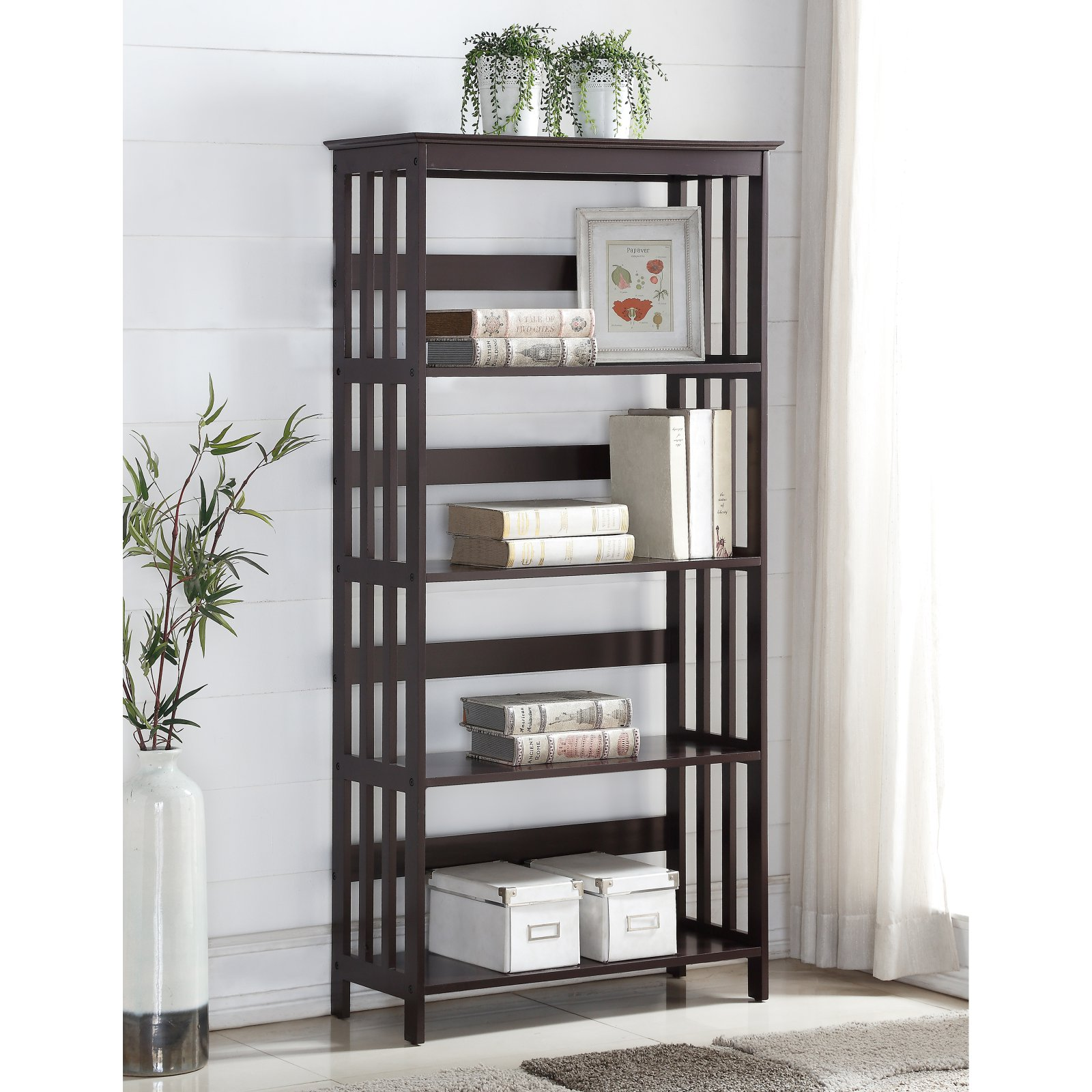 Roundhill Wooden 4 Shelves Bookcase, Espresso Finish