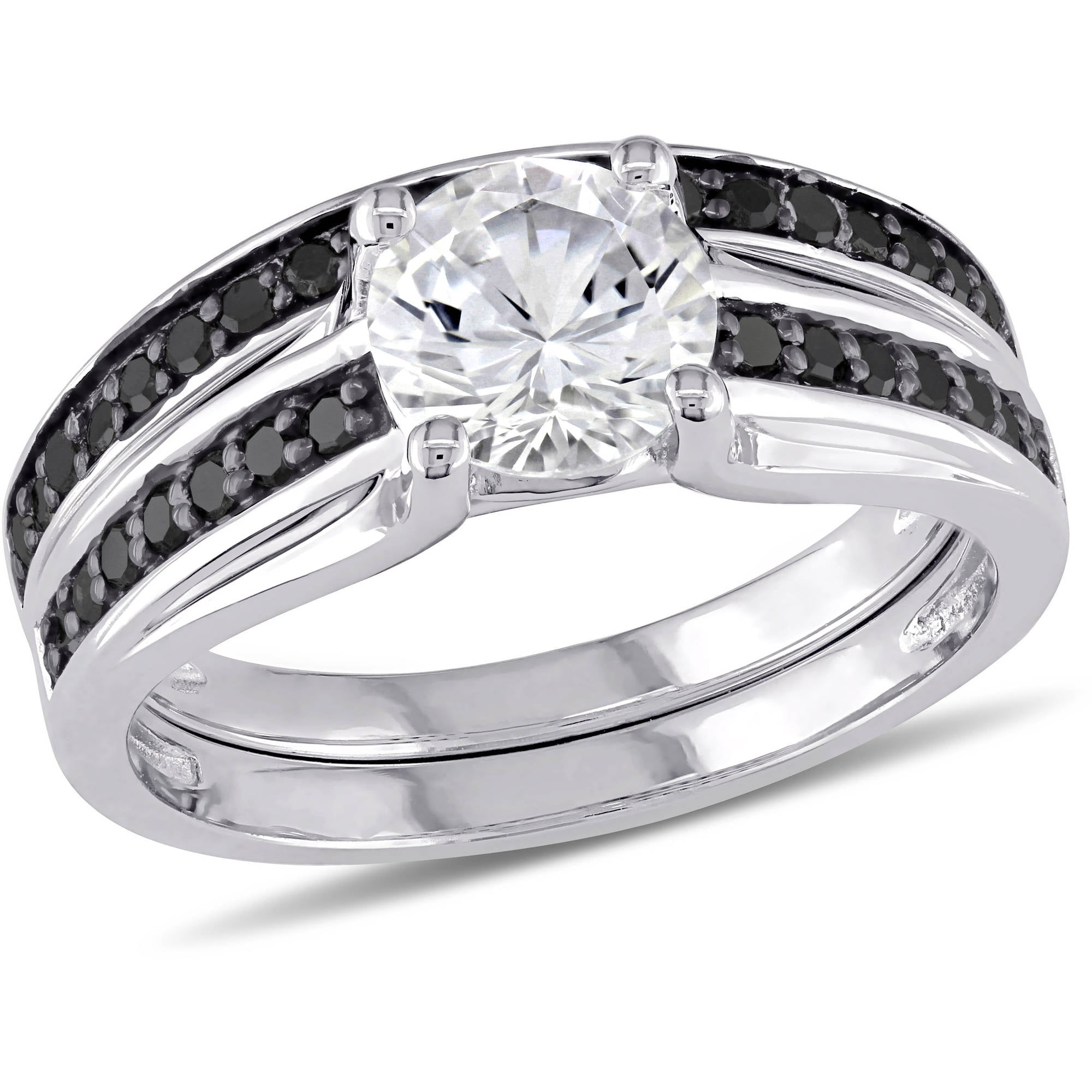 1-3 8 Carat T.G.W. Created White Sapphire and 1 3 Carat T.W. Black Diamond Sterling Silver Bridal Set by Generic