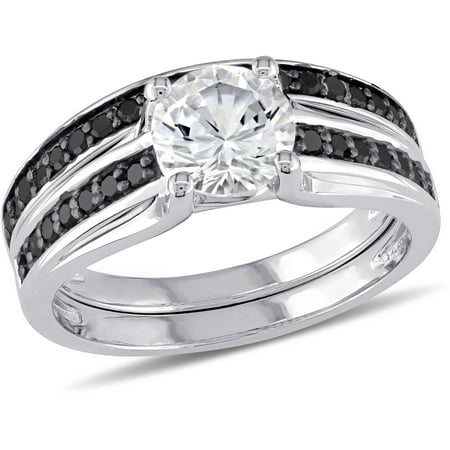 1-3/8 Carat T.G.W. Created White Sapphire and 1/3 Carat T.W. Black Diamond Sterling Silver Bridal Set