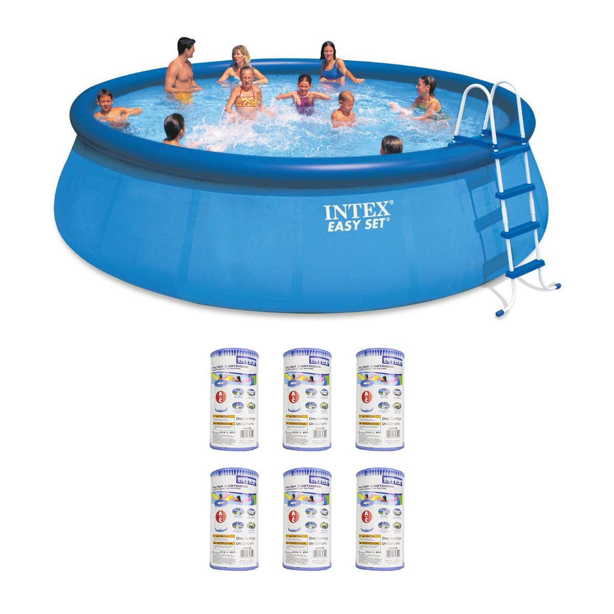 "Intex 18' x 48"" Inflatable Easy Set Above Ground Pool Set + Filter Cartridge (6)"