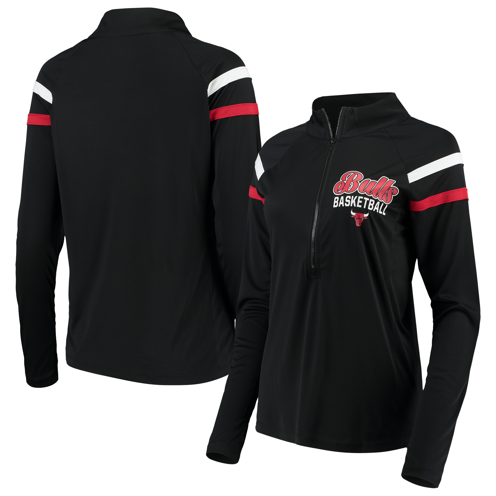 Chicago Bulls 5th & Ocean by New Era Women's Pullover Half-Zip Thumb Holes Jacket - Black