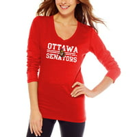 Ottawa Senators Women's Distressed Lines Slub V-Neck Long Sleeve T-Shirt - Red