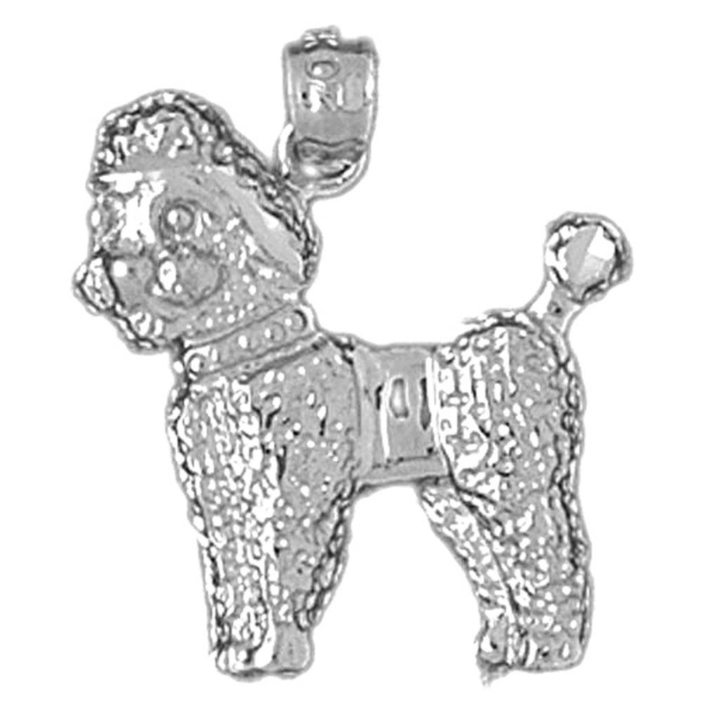 14K White Gold Poodle Dog Pendant - 23 mm