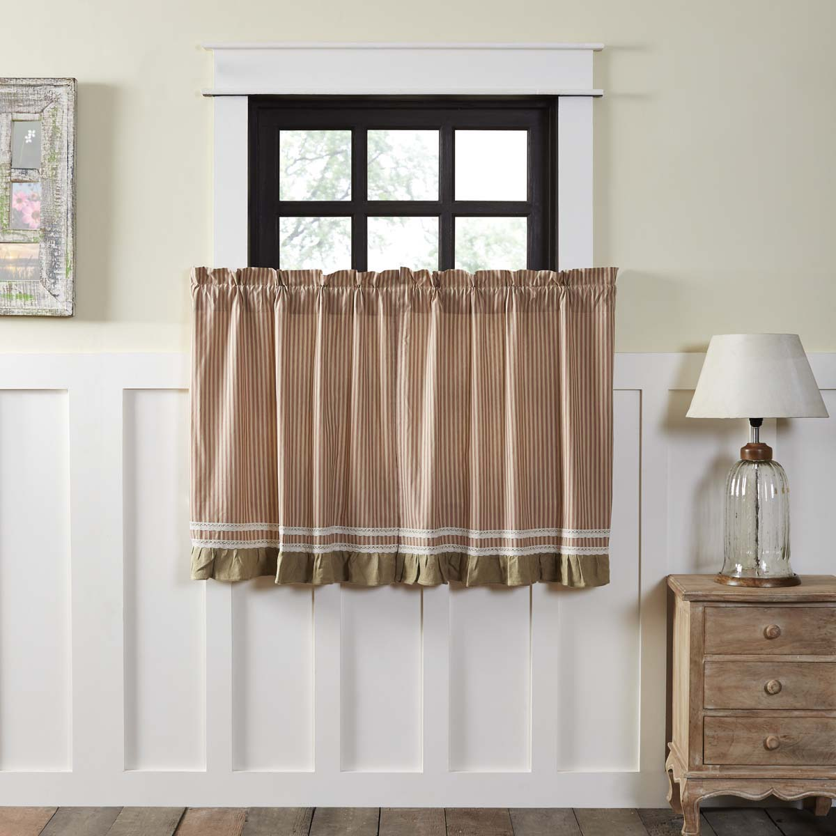 Parchment Red White Farmhouse Kitchen Curtains Kendra
