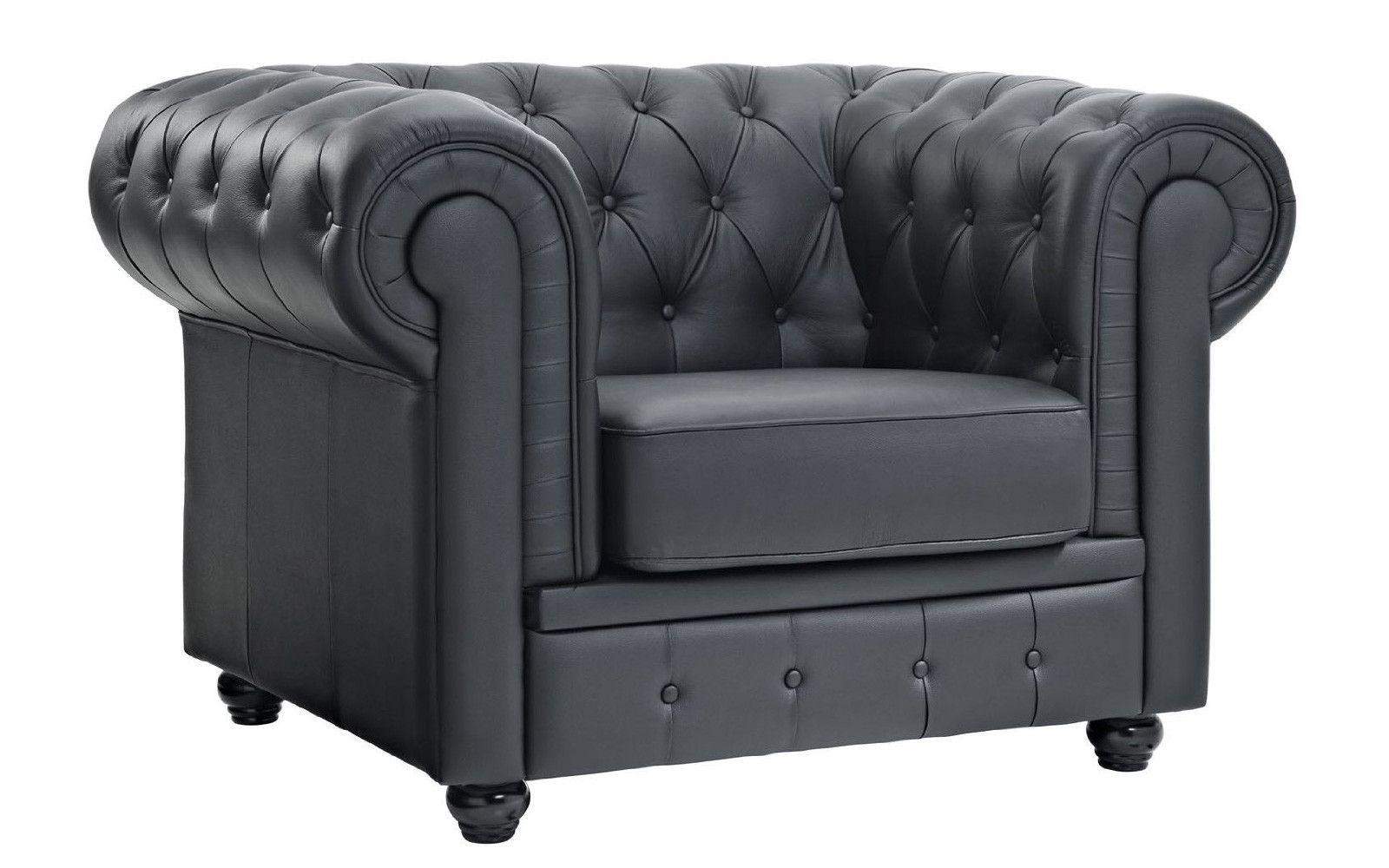 Antique black leather chairs - Classic Scroll Arm Tufted Boned Leather Accent Chair Walmartcom