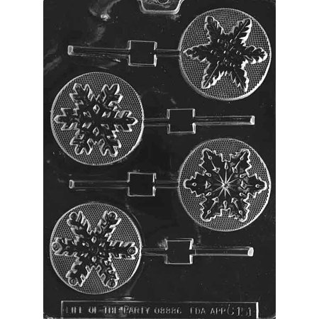 Snowflake Lollipop Chocolate Mold - C151 - Includes Melting & Chocolate Molding Instructions](Snowflake Mold)