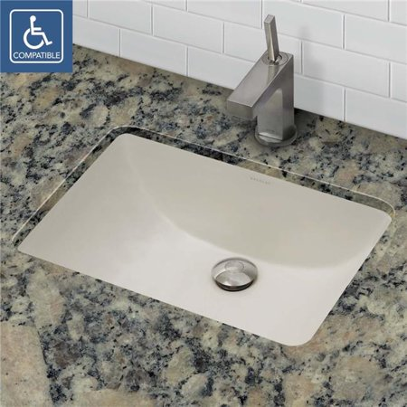 21 x 15 in. Rectangular Undermount Vitreous China Bathroom Sink, Ceramic Biscuit