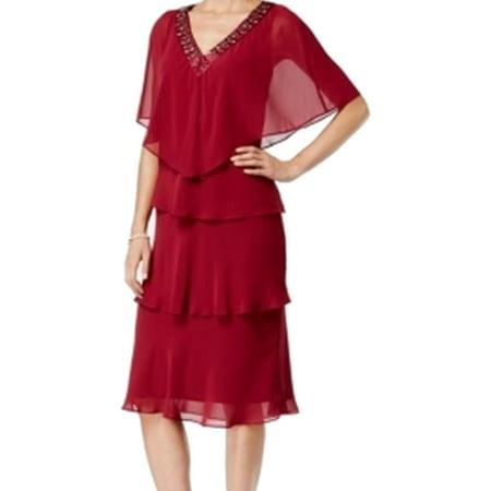 SLNY NEW Red Port Women's Size 2 Tiered Chiffon Embellished Dress Set