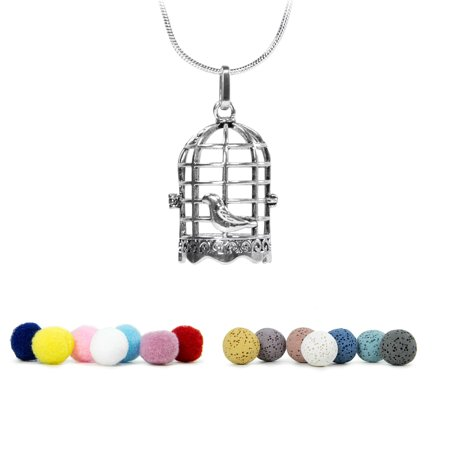Aromatherapy Charm Pendent Necklace Locket w/ Lava Stone and Cotton Balls for Essential Oils Difusser | (Carved Bird Pendant)