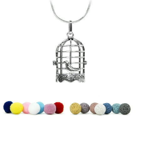 Aromatherapy Charm Pendent Necklace Locket w/ Lava Stone and Cotton Balls for Essential Oils Difusser | Birdcage - Custom Necklace Charms