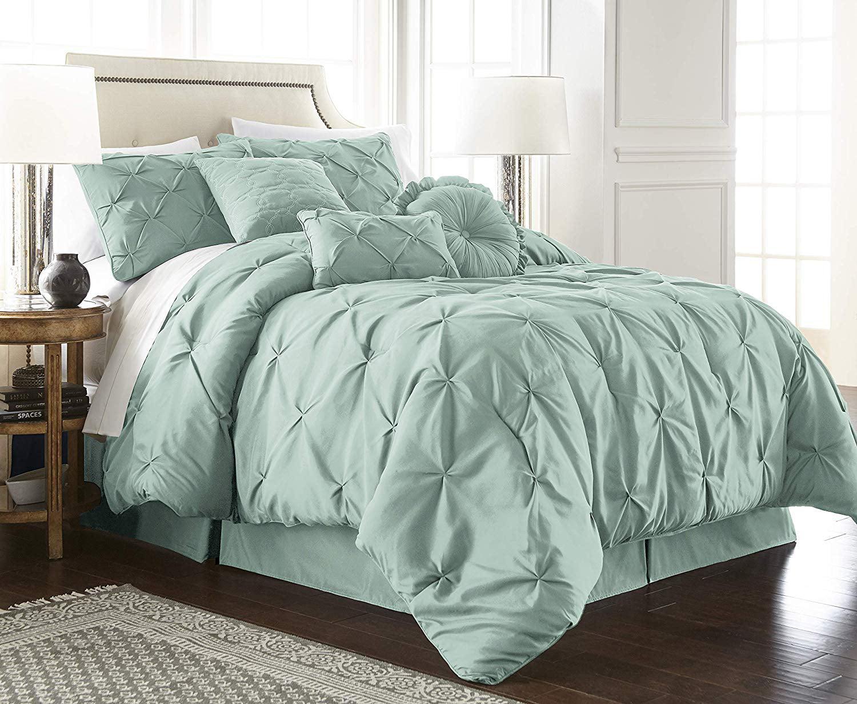 Chezmoi Collection Sydney 7 Piece Pintuck Pinch Pleat Comforter Set Seafoam Green Full Walmart Com Walmart Com