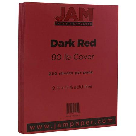JAM Paper Matte Cardstock, 8.5 x 11, 80 lb Dark Red, 250 Sheets/Pack](Red Paper)
