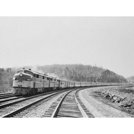 USA New York State Central passenger train on railway tracks Canvas Art -  (18 x