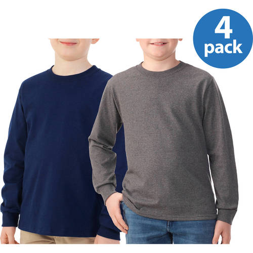 Fruit of the Loom Boys Long Sleeve Tee, Your Choice 4 Pack