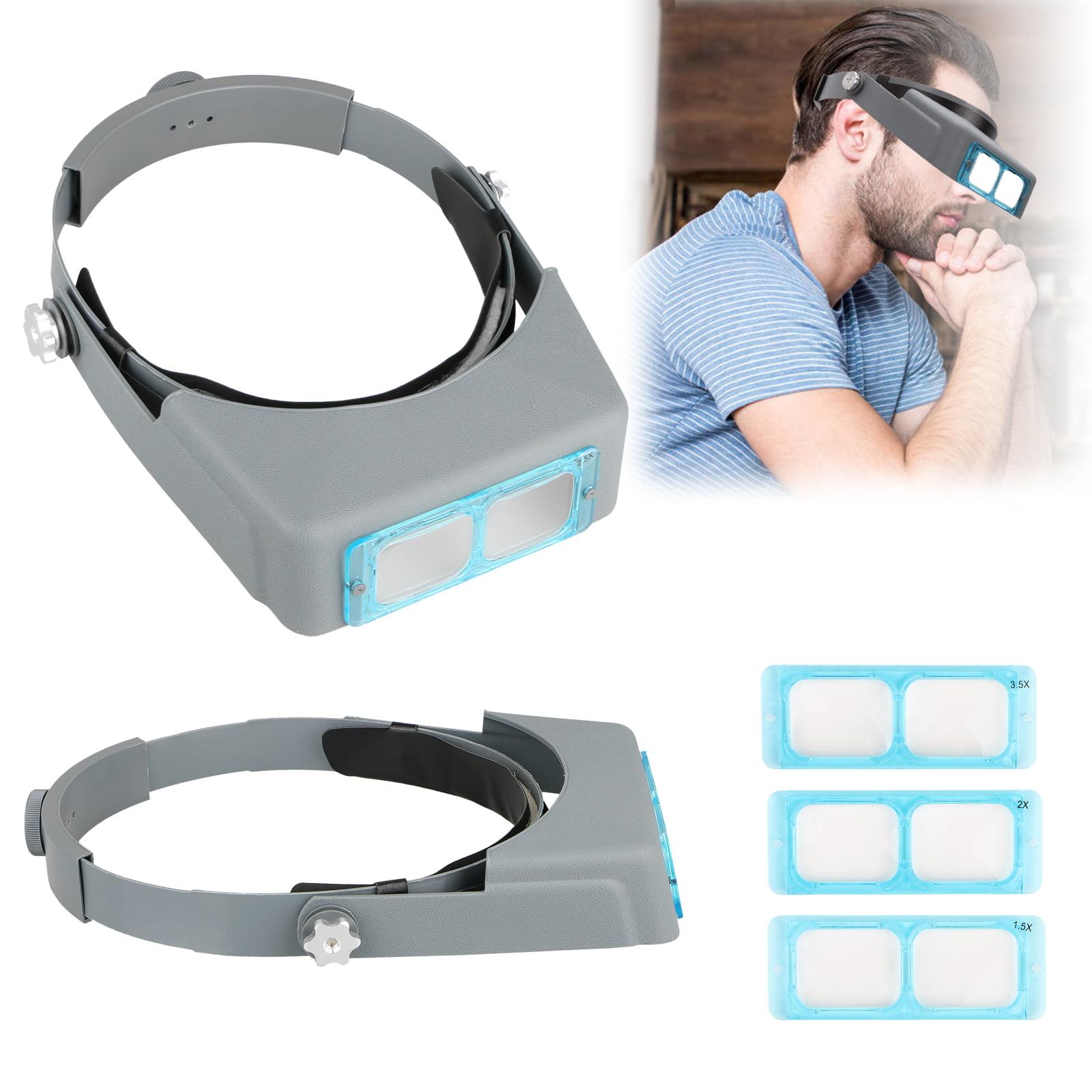 "Headband Magnifier Jewelry Visor Glass Opitcal Binocular Magnifier w/ Lens, 4"" Focal Length 1.5X 2X 2.5X 3.5x Magnification"