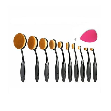 Pure Kabuki Brush - Zimtown 10Pcs Oval Cream Makeup Brushes Set Foundation Kabuki Toothbrush Puff Cleaner US