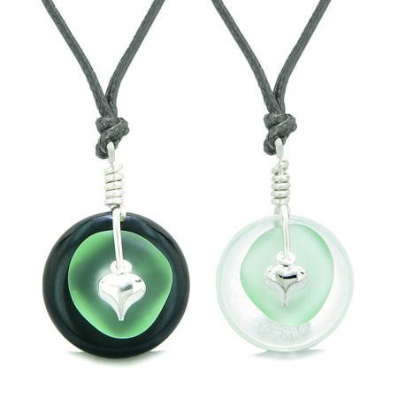 Sea Glass Yin Yang Love Couples BFF Set Mint Green Heart Crystal Quartz Black Agate Donut Amulet Necklaces