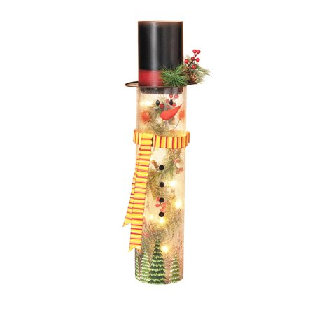 Lighted Crackle Glass Snowman with Top Hat and Hand-Painted Face