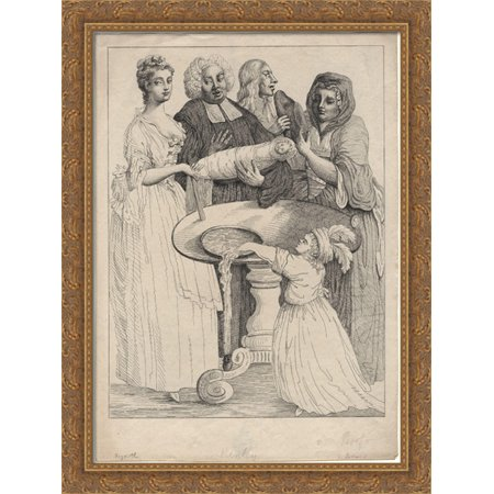 - John Henley with five unknown figures 28x36 Large Gold Ornate Wood Framed Canvas Art by William Hogarth