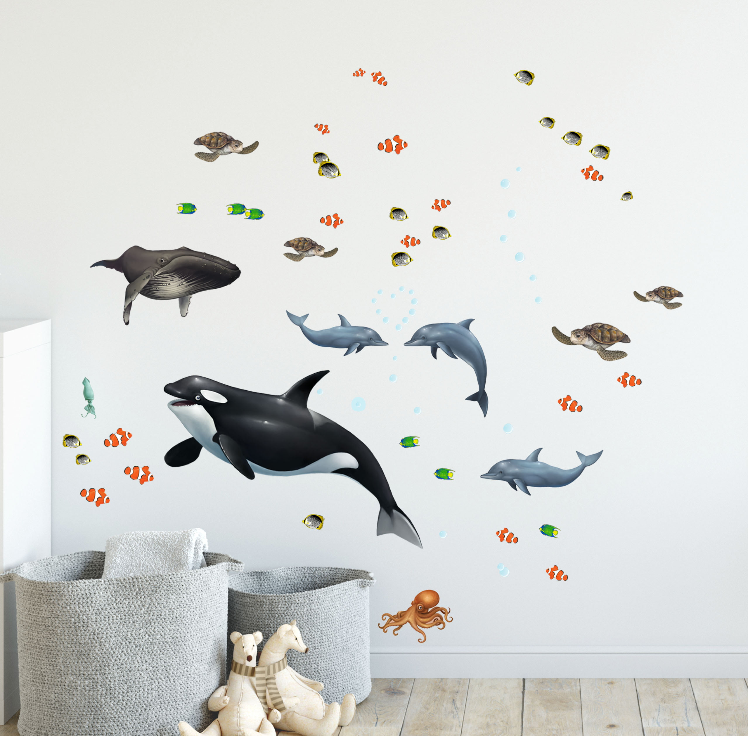 Ocean Wall Decals Under The Sea Fish Whales Dolphins 29 Sea Life Wall Stickers 5 22 Walmart Com Walmart Com
