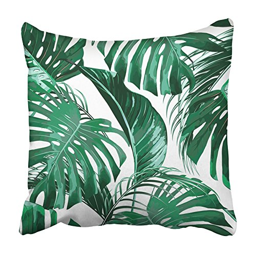 CMFUN Green Plant Tropical Palm Leaves Jungle Leaf Floral Pattern Colorful Nature Pillowcase Cushion Cover 16x16 inch