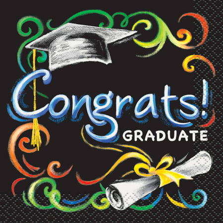 Chalkboard Graduation Paper Beverage Napkins, 5in, (Graduation Tableware)