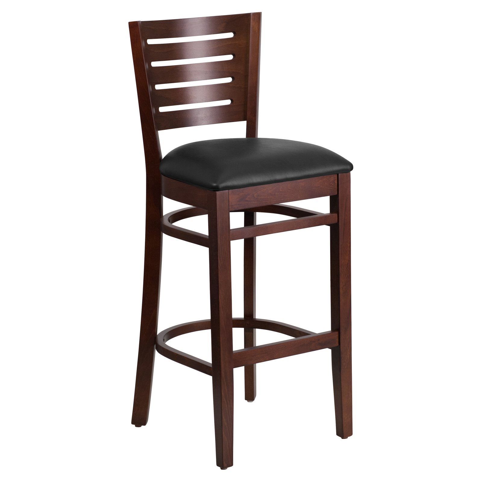 Merveilleux Flash Furniture Darby Series Slat Back Walnut Wooden Restaurant Barstool,  Vinyl Seat, Multiple Colors