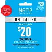 Net10 $20 Unlimited 30-Day Plan Direct Top Up