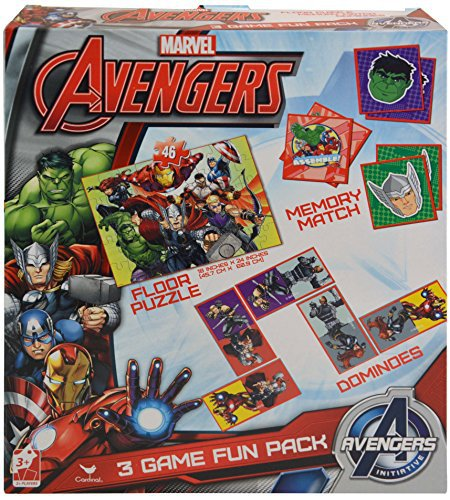 Marvel Avengers 3 in 1 Activity Game Box - Puzzle, Floor Dominoes, Memory Match 57604