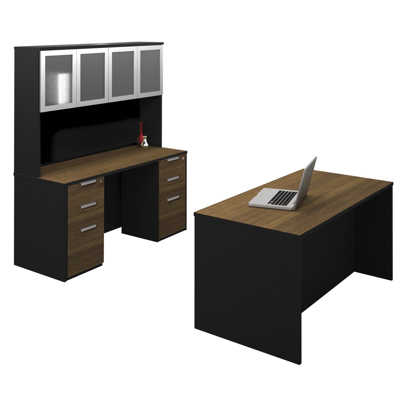 Bestar Pro-Concept Executive Kit with Dual Assembled Pedestals - Milk Chocolate Bamboo and Black