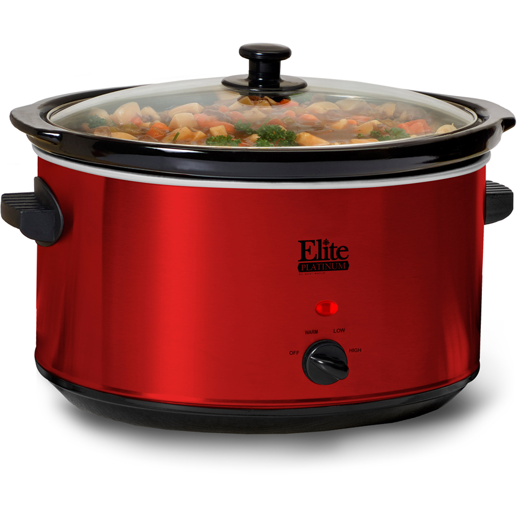 Elite Platinum MST-900R 8.5 qt Stainless Steel Slow Cooker, Red