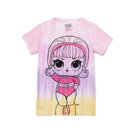 L.O.L. Surprise! Girls 4-16 Tie Dye Doll Graphic T-Shirt Goddess Baby Doll T-shirt